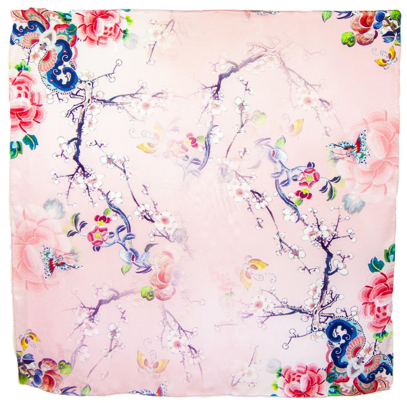 Carré de soie rose fleurs Romy 110 cm