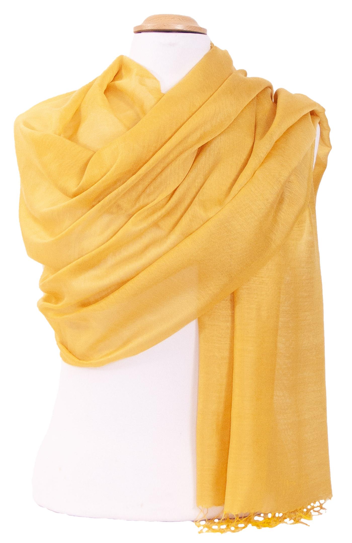 Etole foulard jaune soie viscose Alex