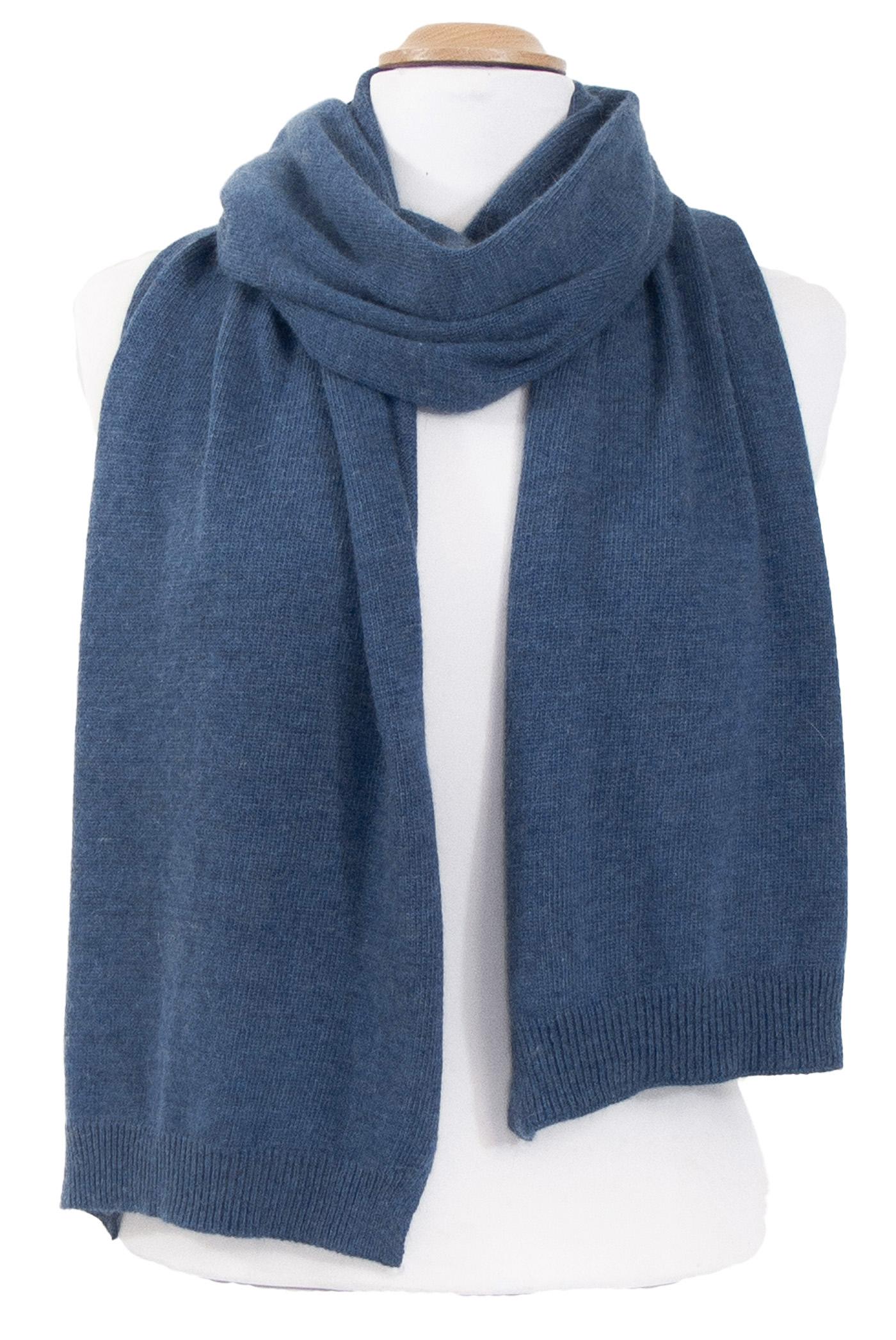 Echarpe maille cachemire viscose bleu gris Andréa
