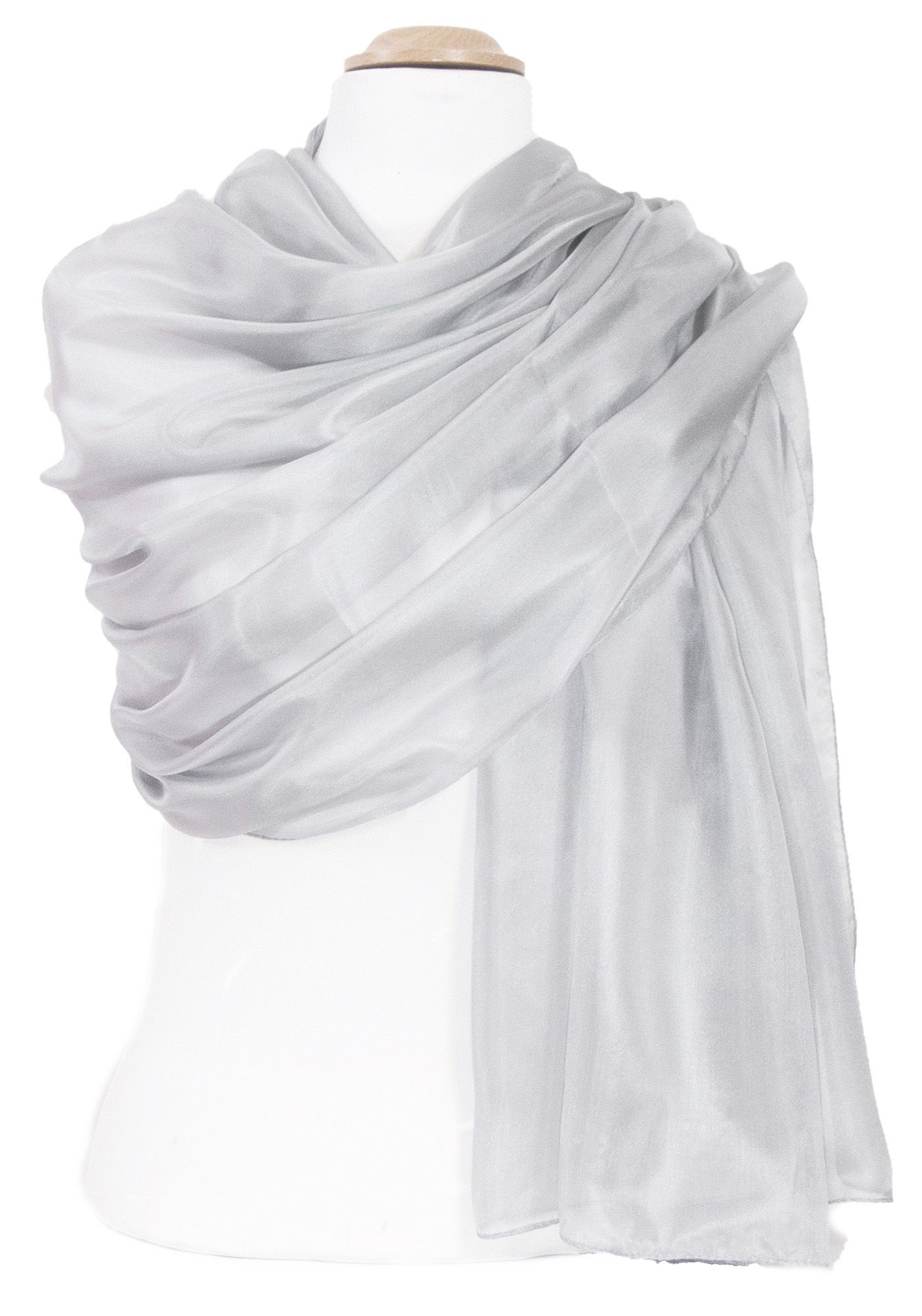 Etole en soie gris perle premium