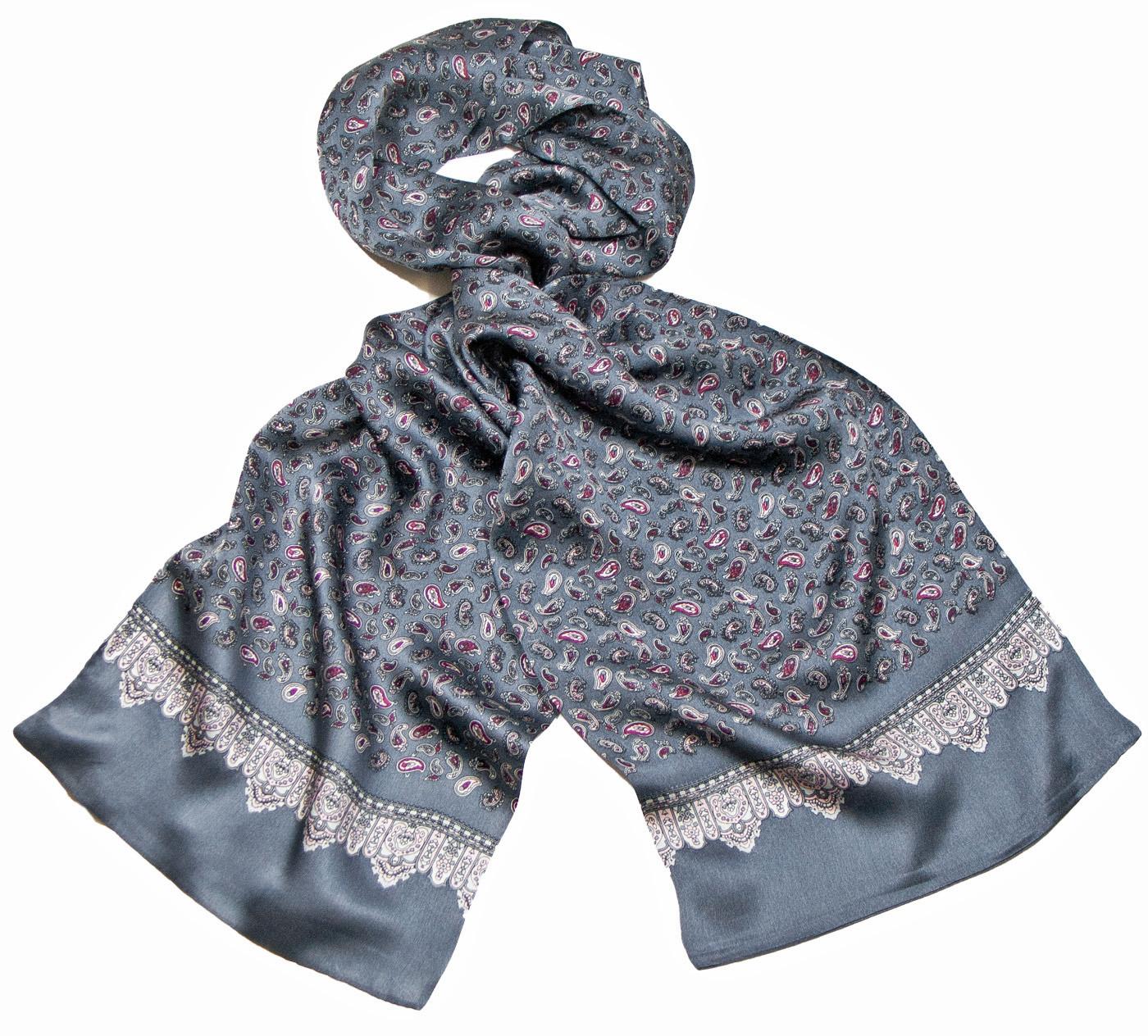 Foulard soie homme gris paisley frise