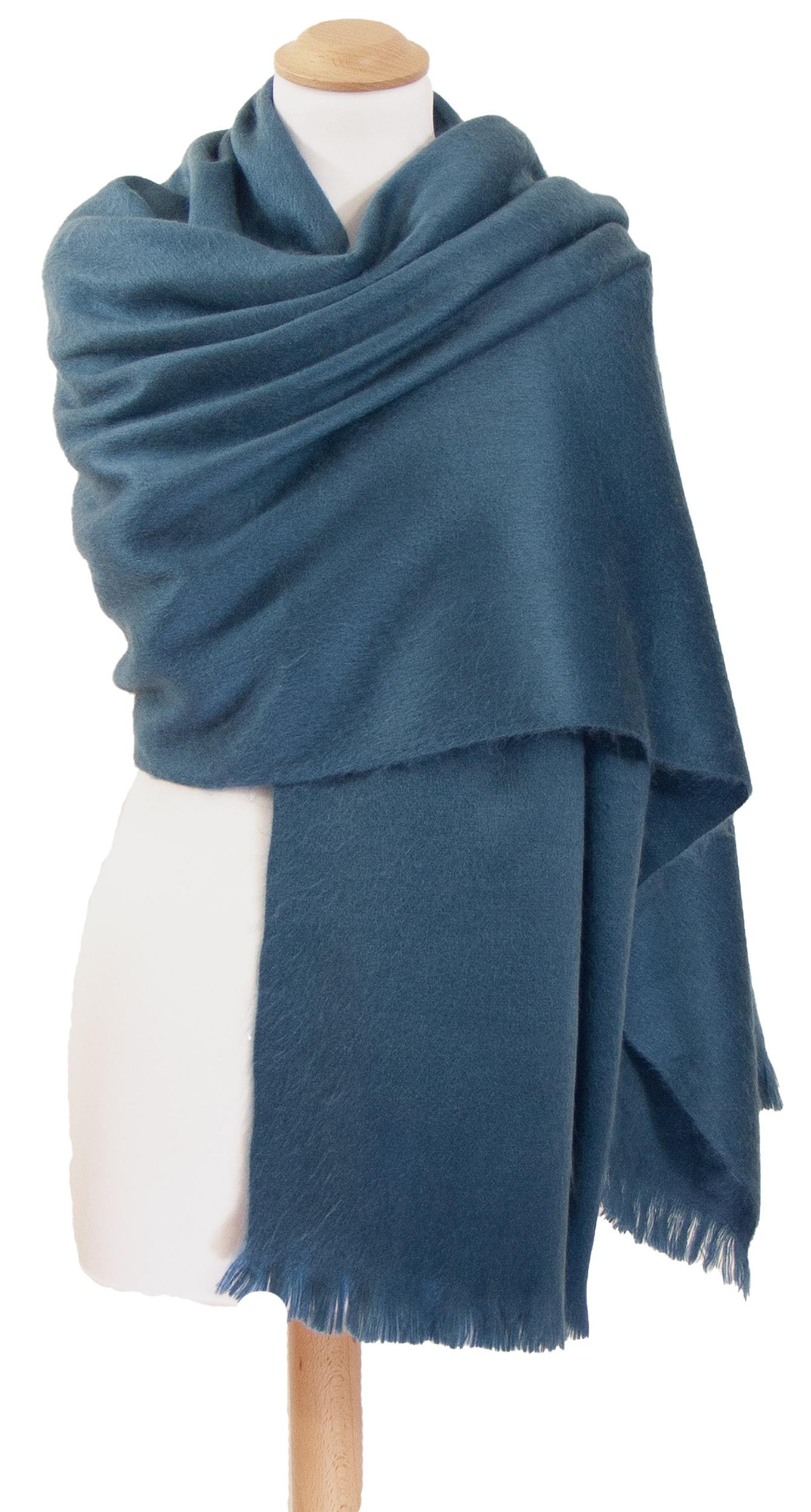 Châle en laine alpaga bleu gris