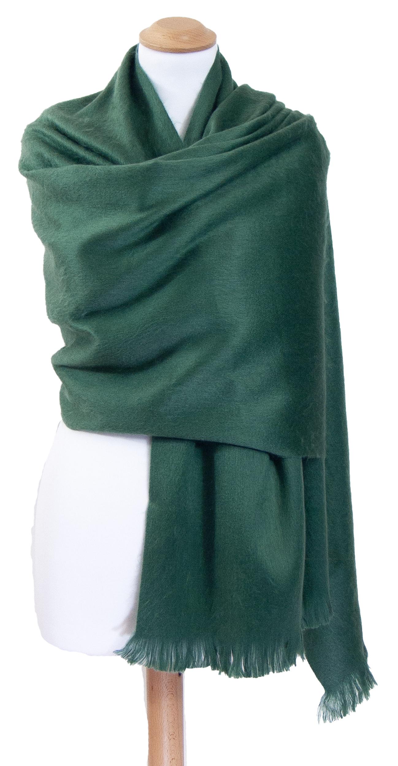Châle en laine alpaga vert
