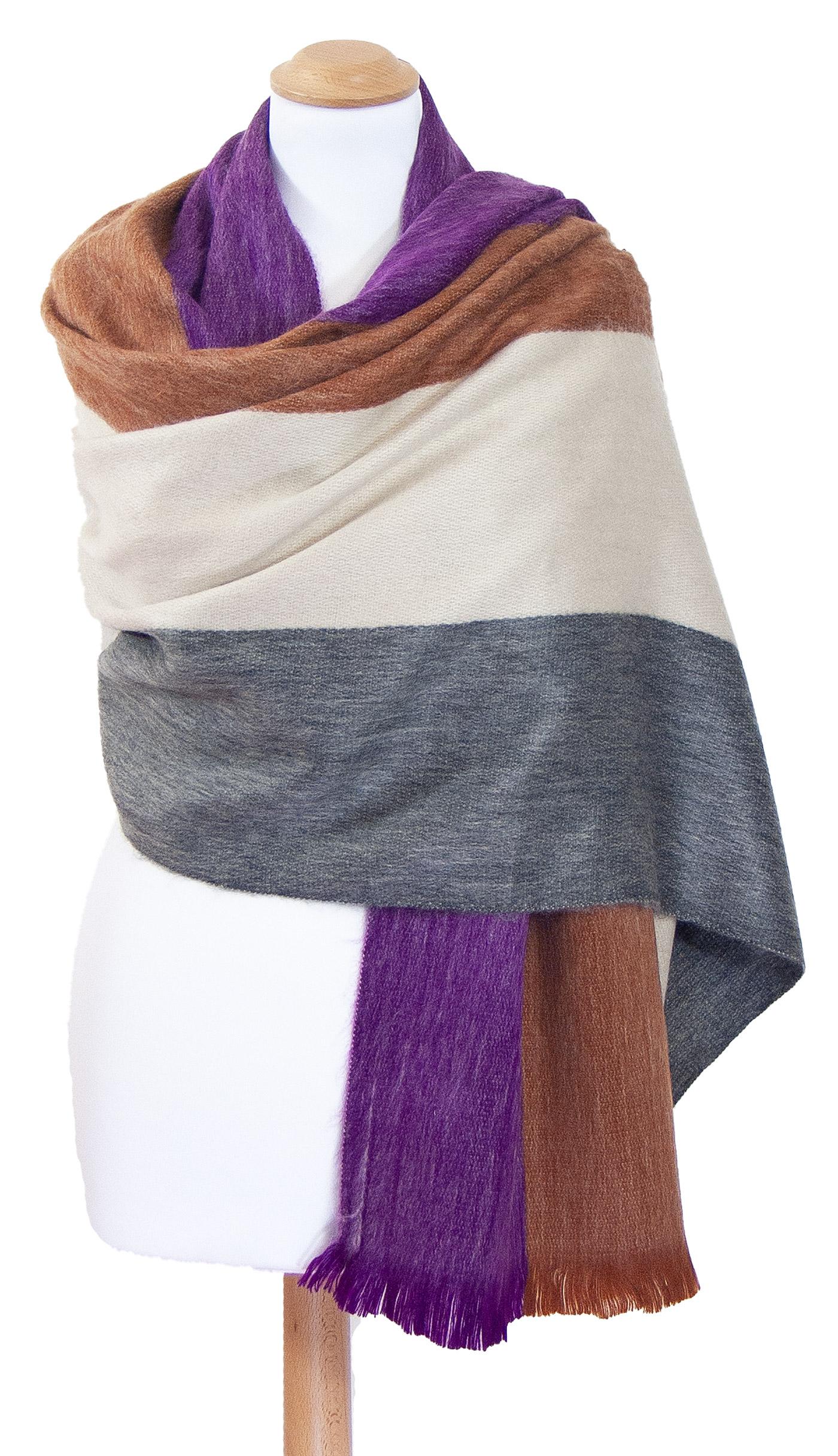 Châle en laine alpaga rayures violet Erika