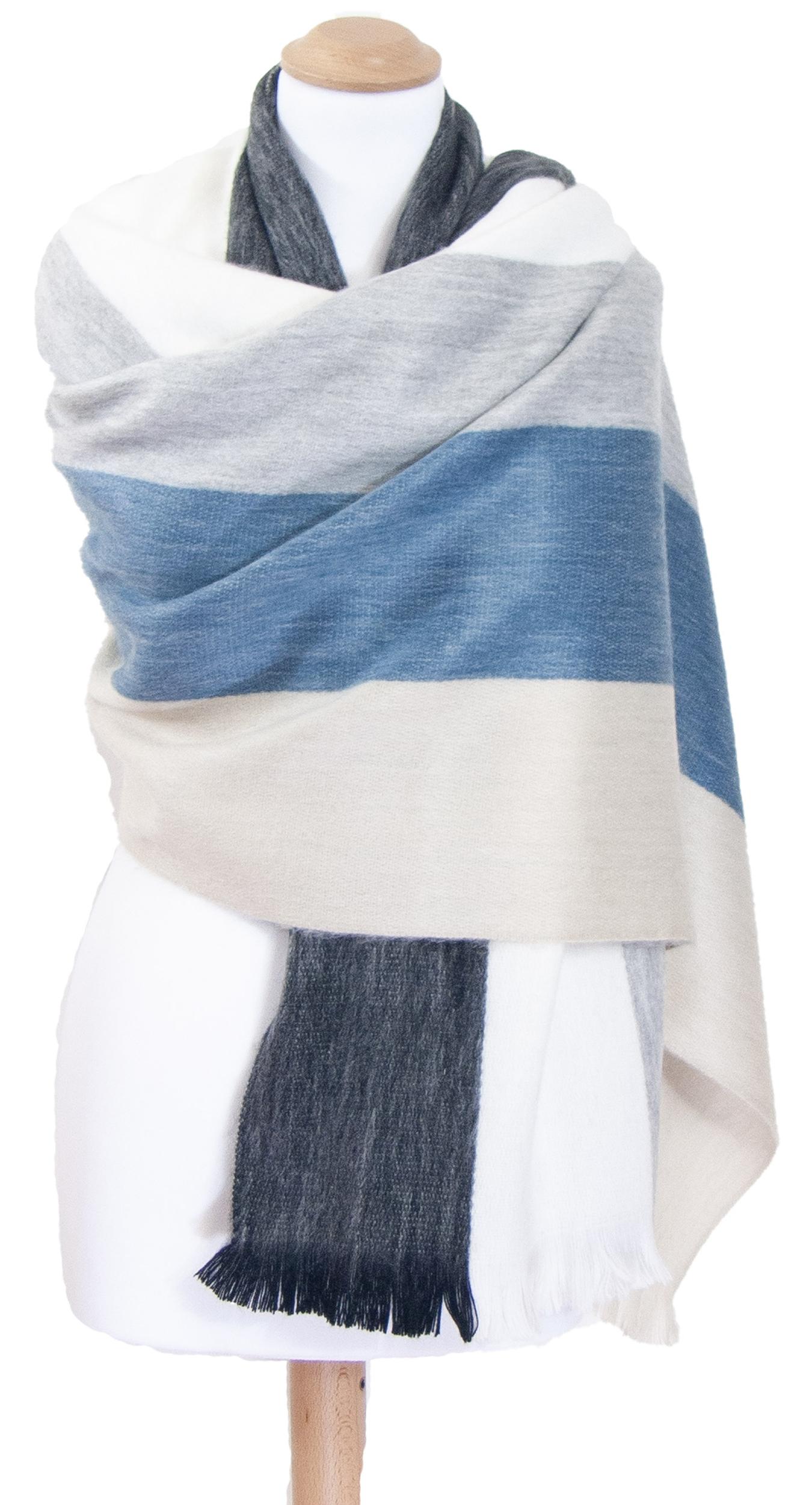 Châle en laine alpaga rayures bleu Erika