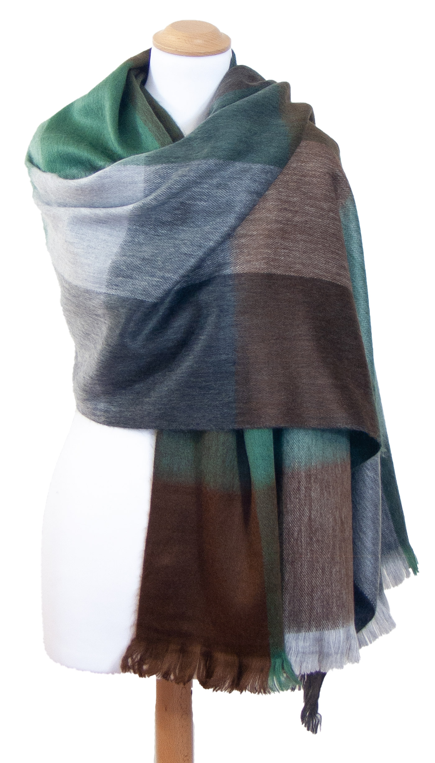 Châle en laine alpaga carreaux vert gris Hellen