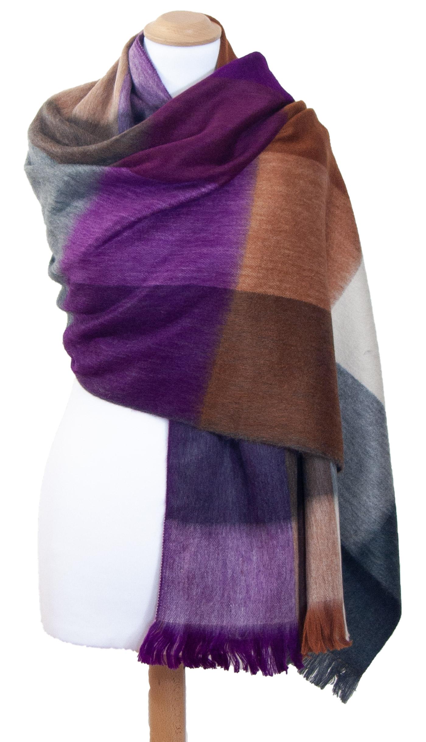 Châle en laine alpaga carreaux violet Hellen