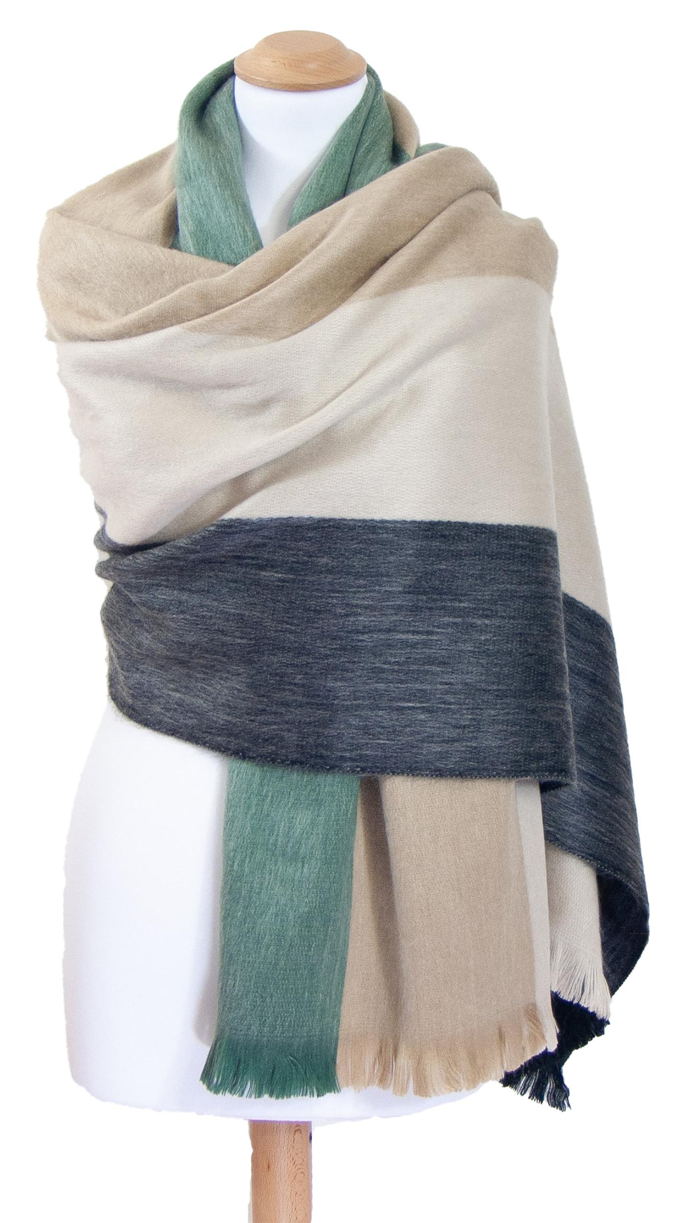 Châle en laine alpaga rayures beige Erika