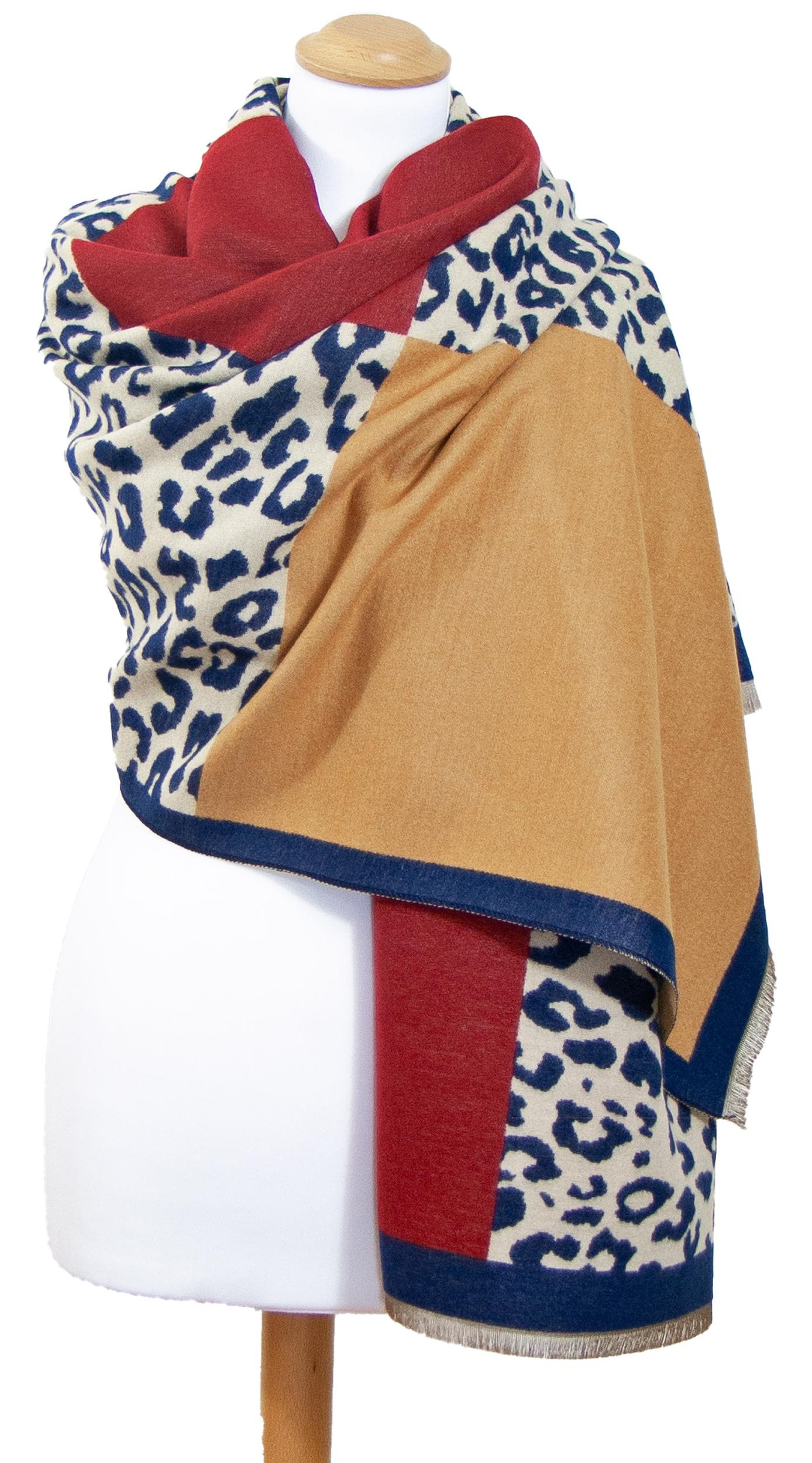 Châle léopard bleu bordeaux Agathe