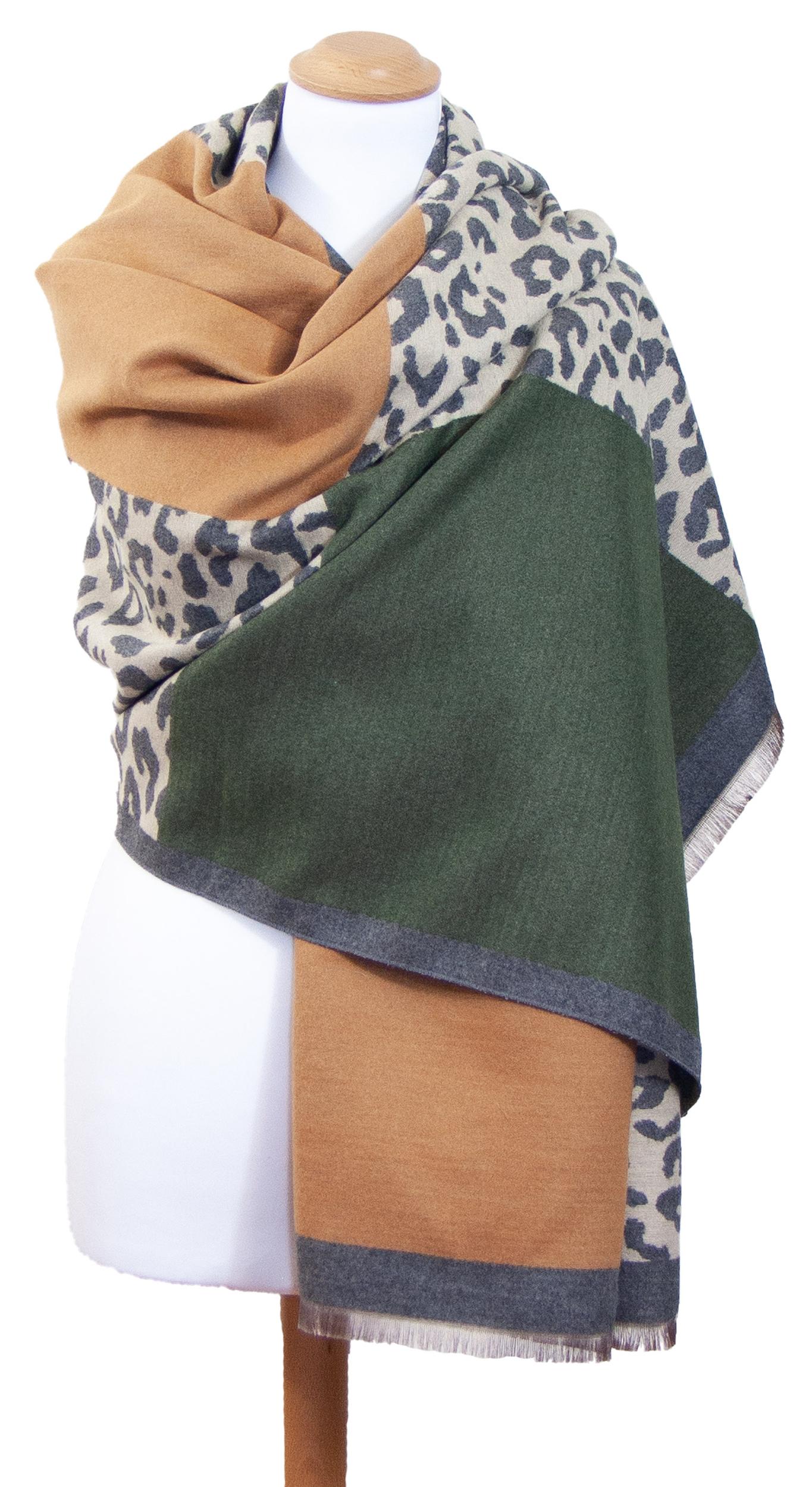 Châle léopard vert gris Agathe