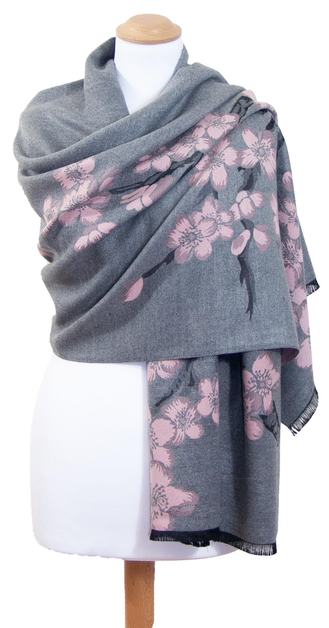 Châle gris rose fleurs de cerisiers