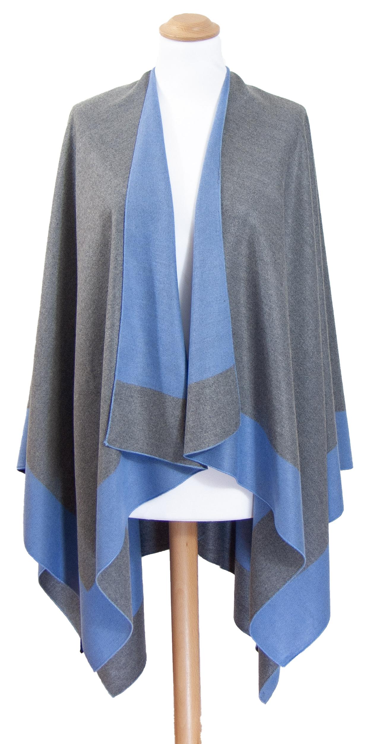 Poncho femme gris et bleu Lise