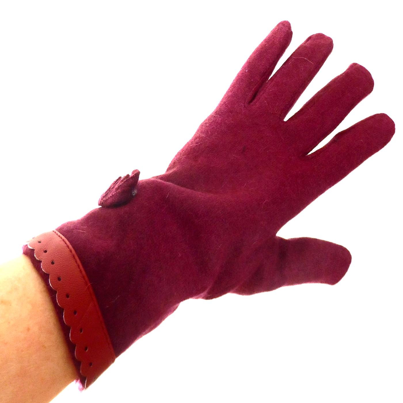 Gants pour femmes en laine bordeaux galon style cuir TU