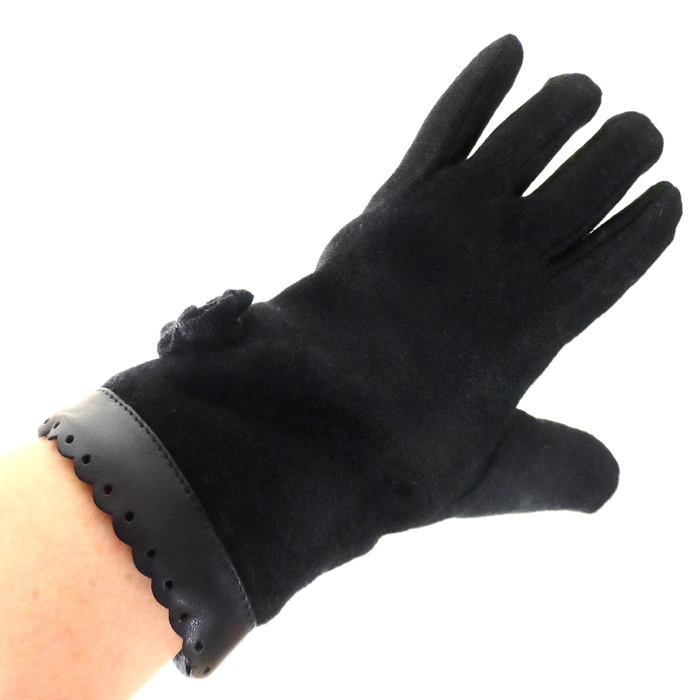 Gants pour femmes en laine noir galon style cuir TU