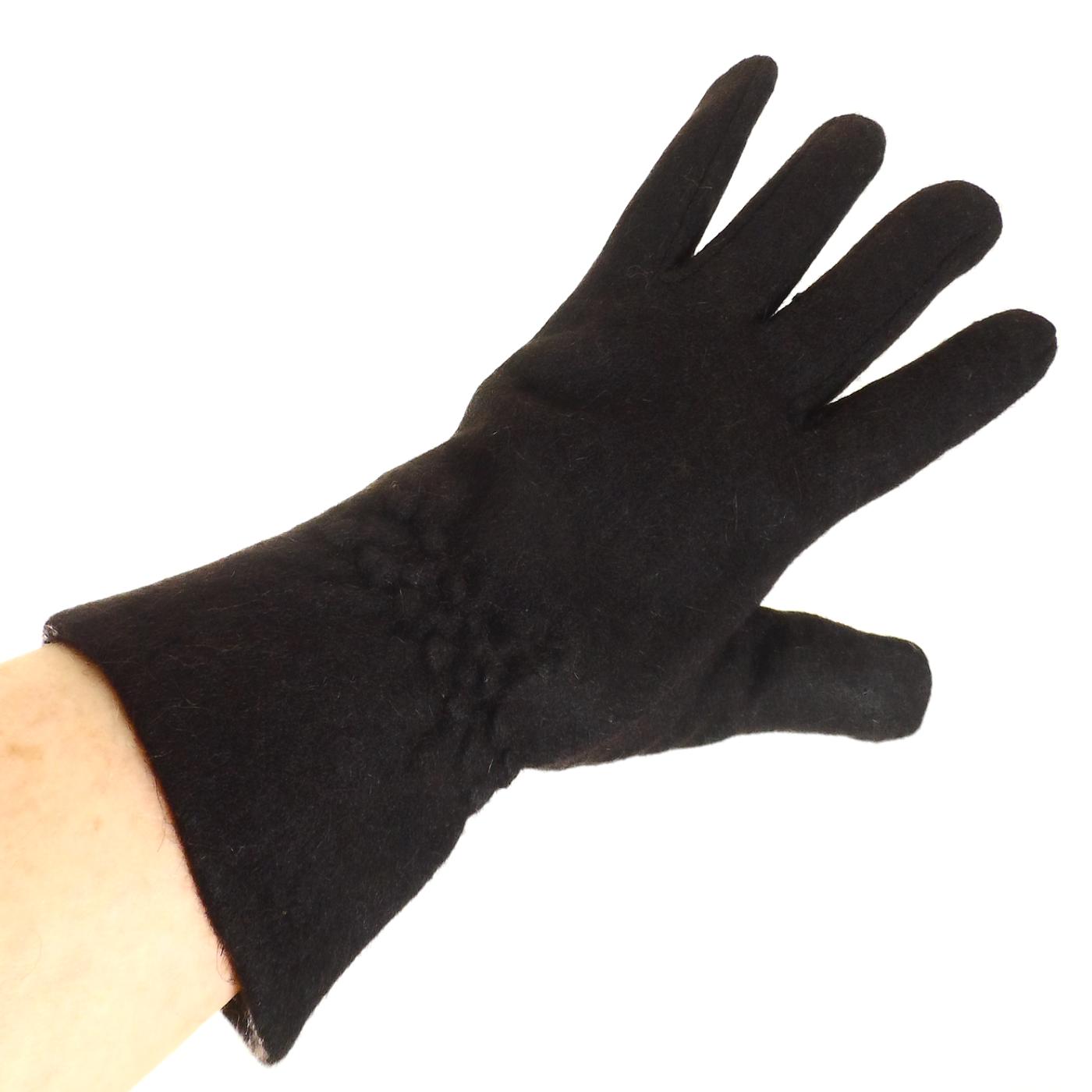 Gants en laine noir pour femmes avec fronces TU