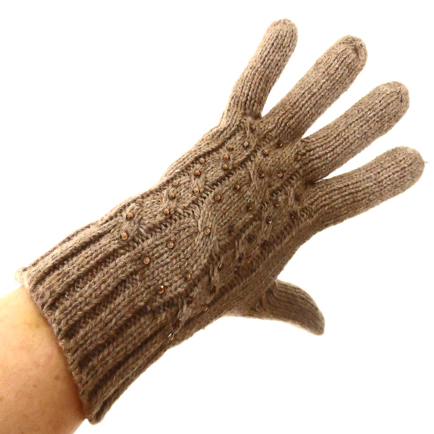 Gants pour femmes laine et strass beige TU