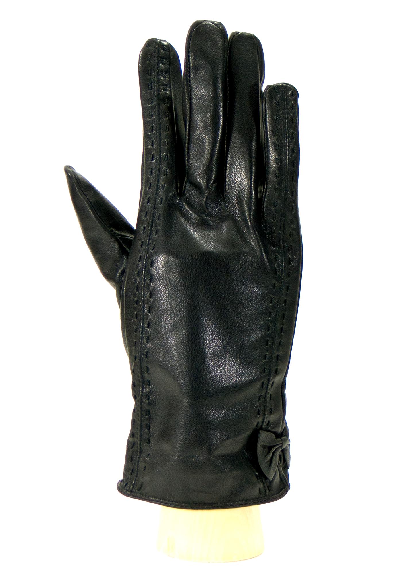 gant femme cuir noir noeud coté HA39 1