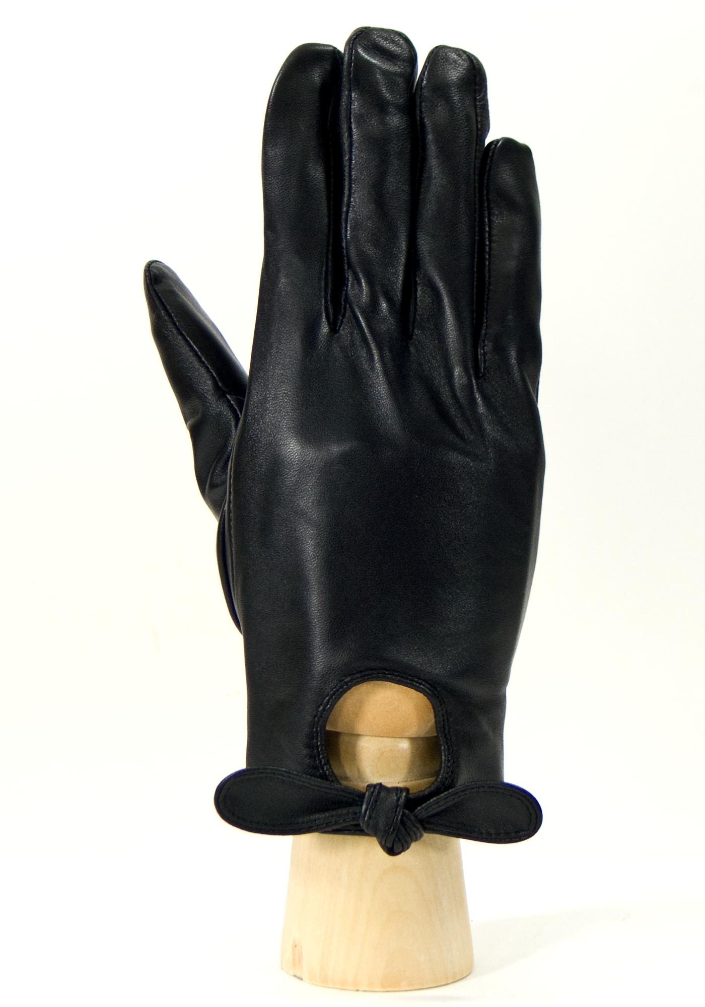 Gants cuir noir femme découpe goutte d\'eau taille 8