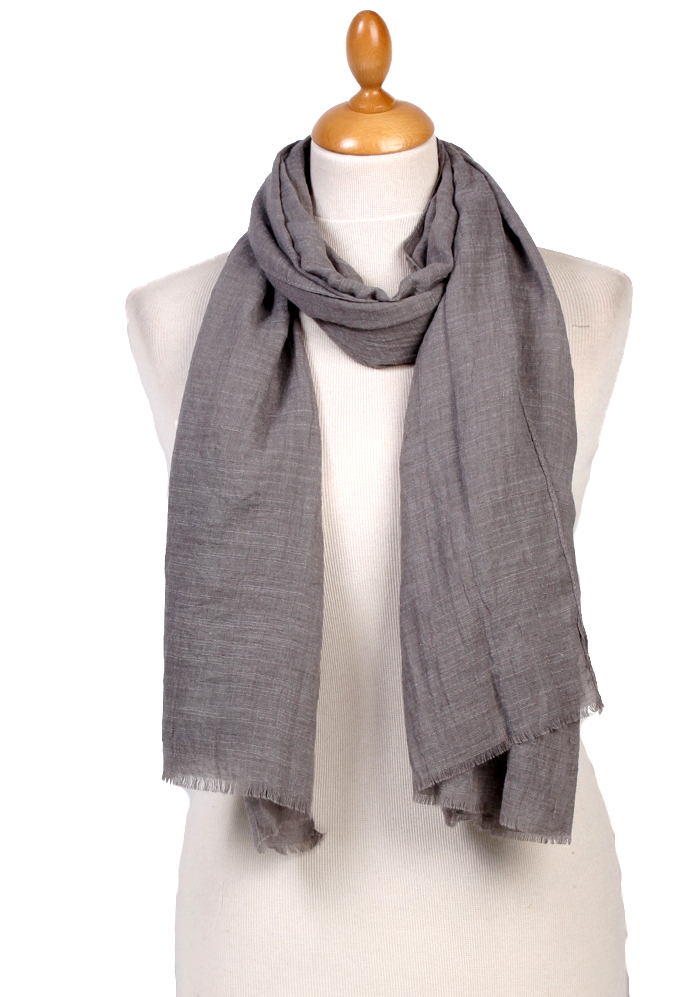 Foulard chèche gris lin coton premium