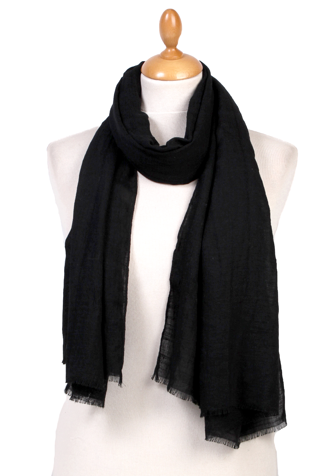 Foulard chèche noir lin coton premium