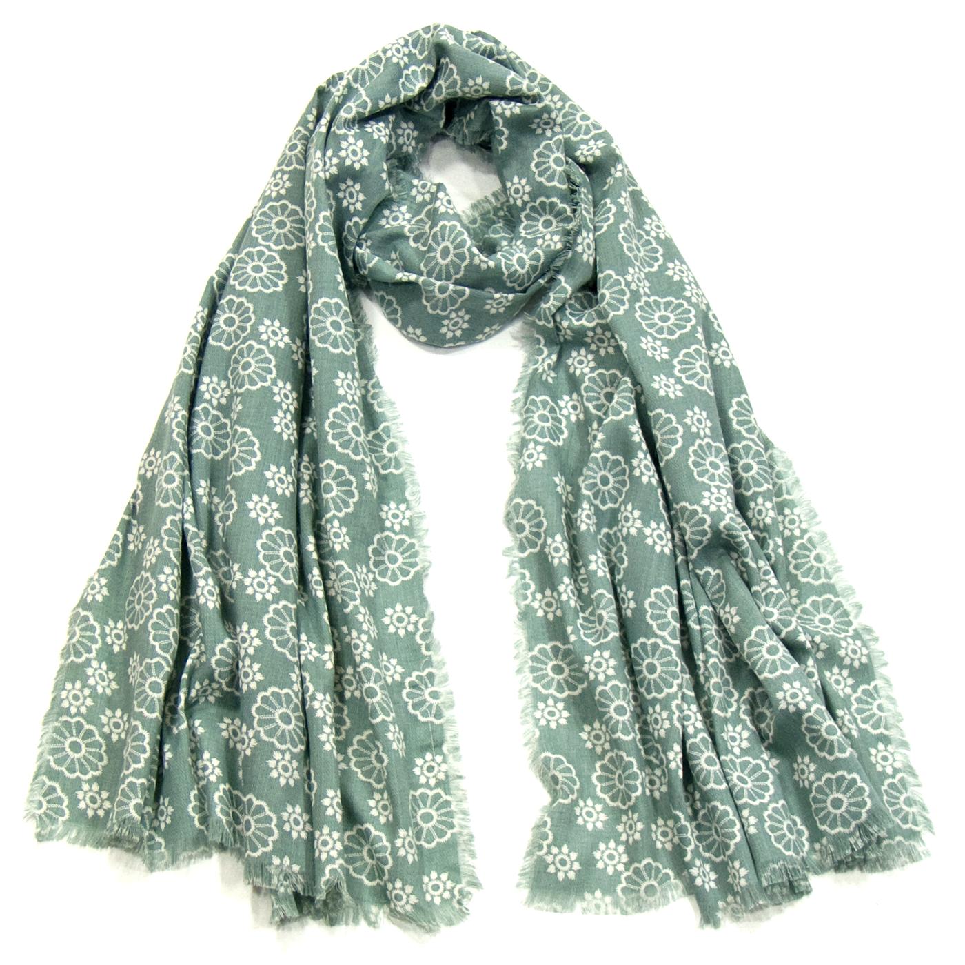 Foulard chèche vert rosaces - Foulard Foulard chèche - Mes Echarpes 7b5de0cd6b2