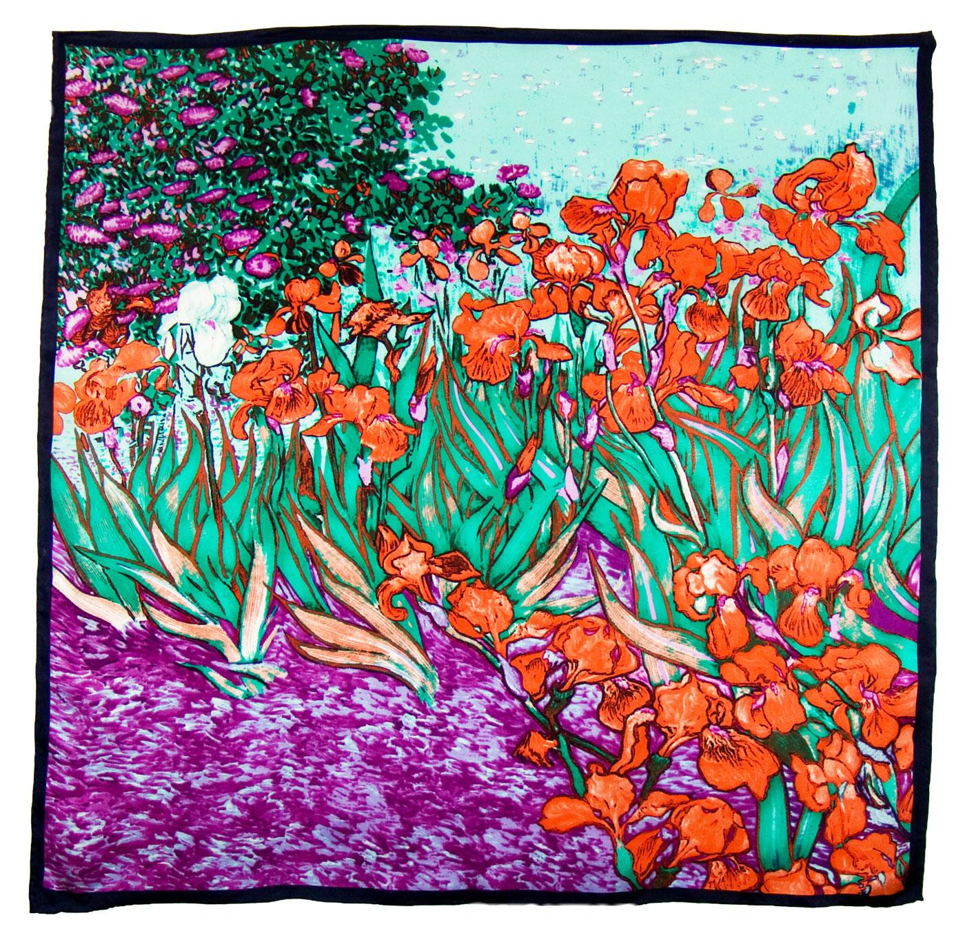 Foulard en soie carré artysilk iris rouge inspiration Van Gogh