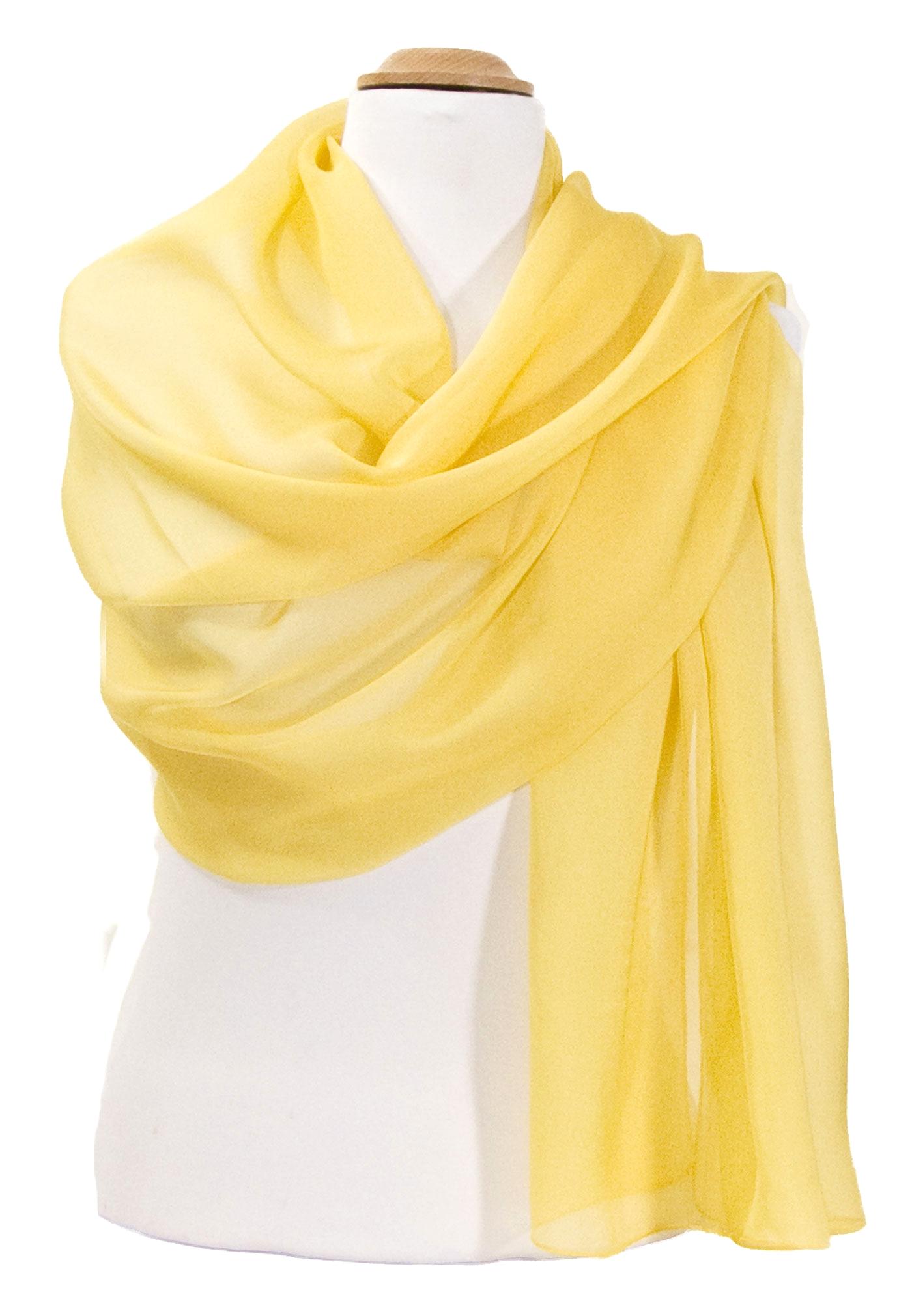 09b7941a5f6d Etole jaune mousseline de soie premium - Etole Etole soie - Mes Echarpes