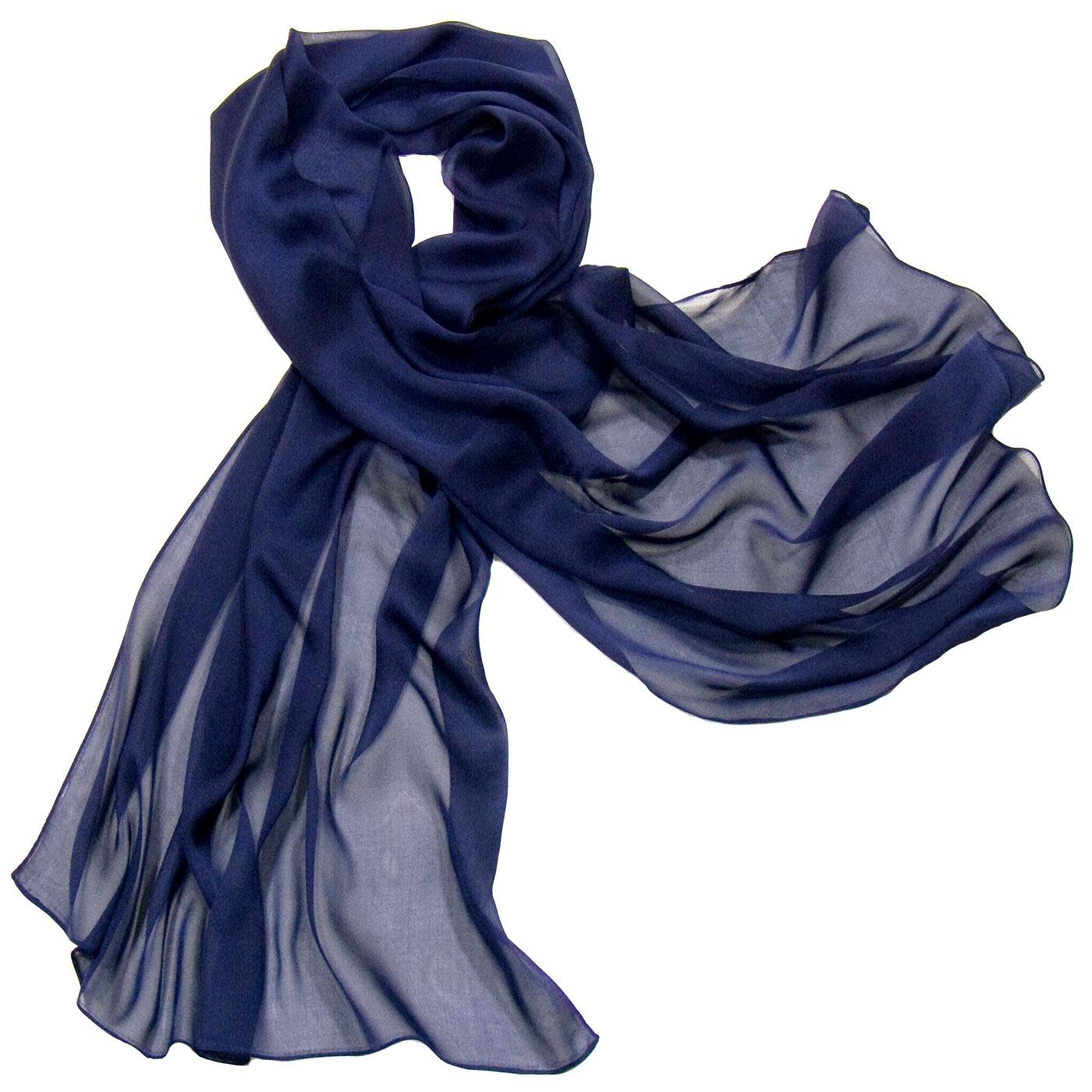Etole bleu marine mousseline de soie premium - Etole Etole soie - Mes  Echarpes c5390f30e83