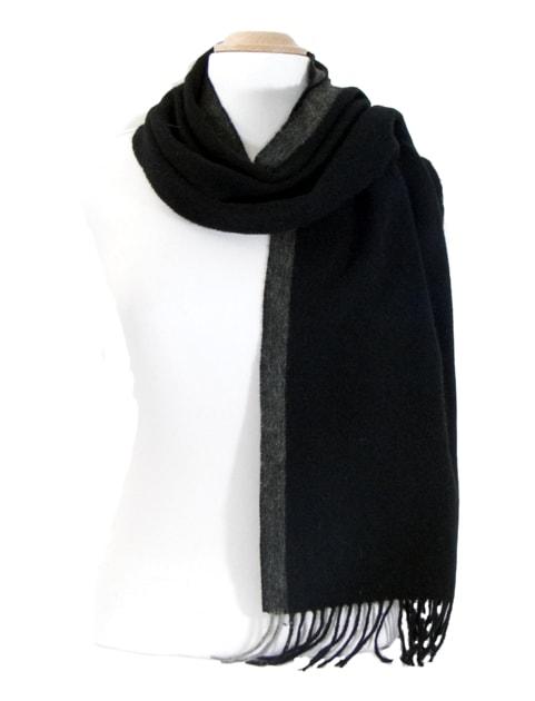 echarpe laine tissee noir rayure 3-min