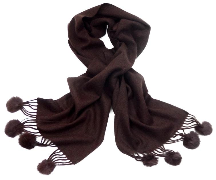 echarpe laine pompons fourrure chocolat 2-min