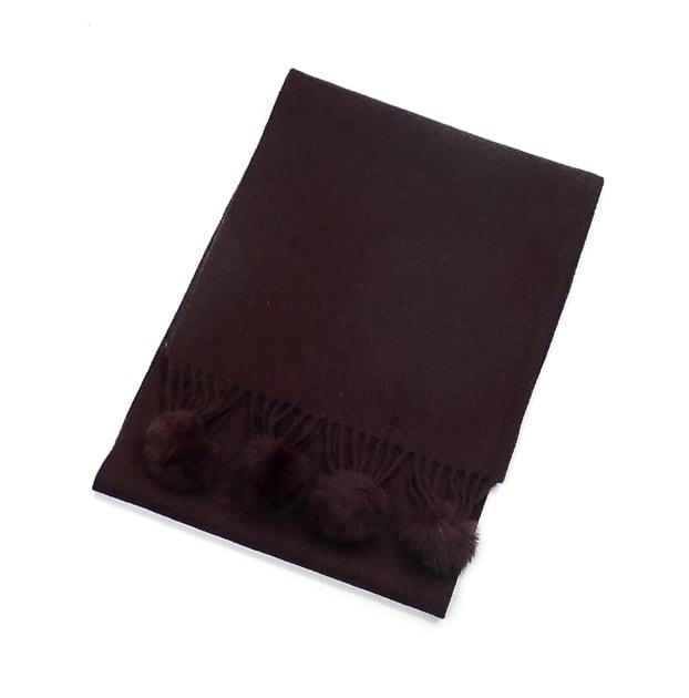 echarpe laine pompons fourrure chocolat 3-min