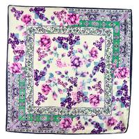 Foulard en soie carré écru bouquets parme 85 x 85 cm