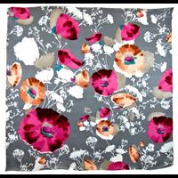 Foulard en soie satin gris floralie premium 90 x 90 cm