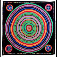 Foulard en soie satin noir cercles premium 90 x 90 cm