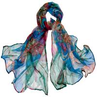 Foulard en mousseline de soie bleu flovi