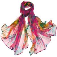 Foulard en mousseline de soie rose fushia viva