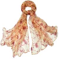 Foulard en mousseline de soie rose saumon ramina