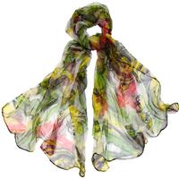 Foulard en mousseline de soie vert rose réva