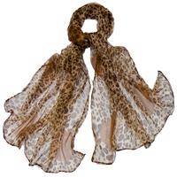 Foulard en mousseline de soie beige léopard