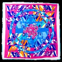 Foulard en soie satin rose equara premium 90 x 90 cm