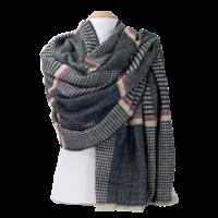Châle en laine noir patchwork tweed