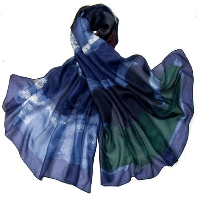 Etole en soie bleu tie and dye premium