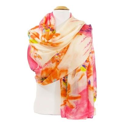 Etole en soie rose floral premium