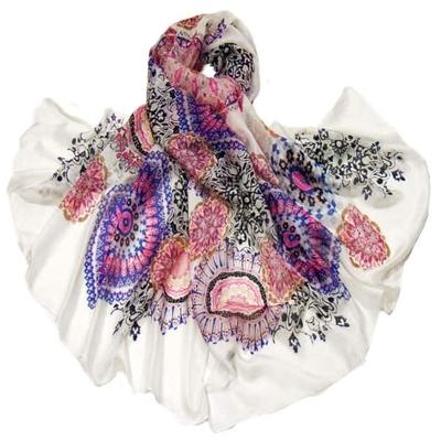 Etole en soie rose violet mandalas premium