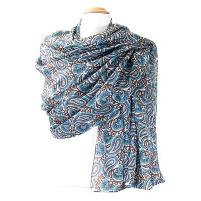 Etole en soie bleu mini cachemire premium