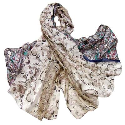 Etole en soie beige imprimé foulard premium