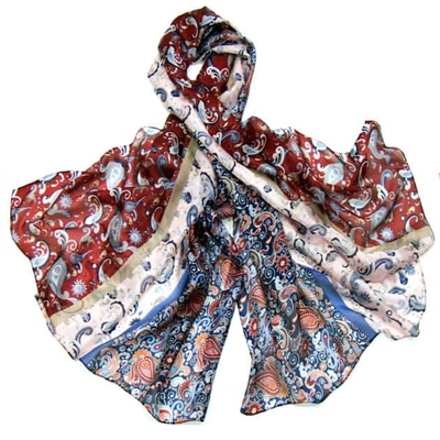 Etole en soie bleu imprimé foulard premium
