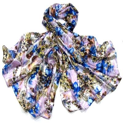 Etole en soie bleu imprimé bouquets