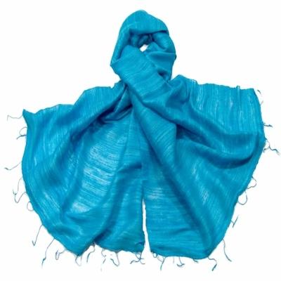 Etole bleu turquoise en soie sauvage