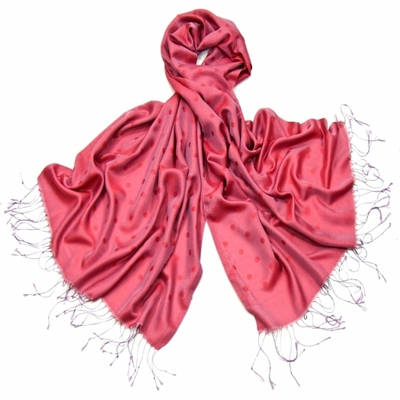 Etole foulard rose framboise pois soie viscose